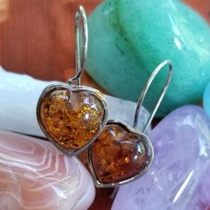 Vintage sterling amber heart earrings